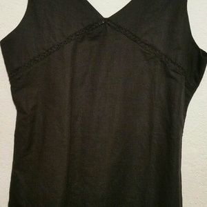 black tank linen with simple detailing